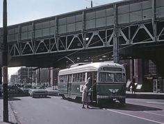 SEPTA  PCC  Trolley  on  Rt.56 at Kensington  and Torresdale  Phila  1969