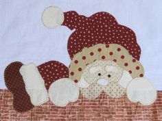 Pano de Prato Papai Noel espião Christmas Applique, Christmas Sewing, Christmas Wood, Christmas Projects, Holiday Crafts, Baby Applique, Wool Applique, Applique Patterns, Applique Designs