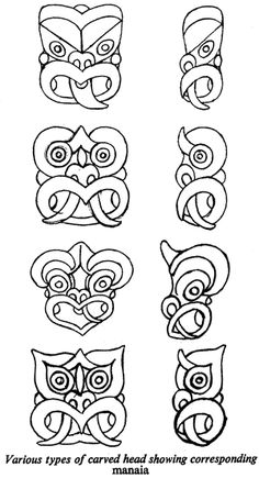 Various types of carved head showing corresponding manaia