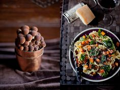 Pasta with pumpkin, mushrooms and spinach - Via Frizzifrizzi.it