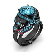 Sky Blue Diamond Women's Skull Engagement Ring Set 925 Sterling Silver Free Gift #JewelStar