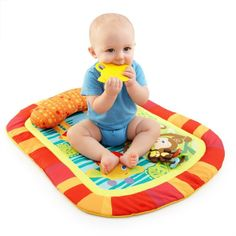 Bright Starts Baby Activity Prop Play Mat Tummy And Cruiser Pretty Time Swimming Gear, Baby Swimming, Baby Stuffed Animals, Safari Adventure, Baby Swings, Infant Activities, Baby Essentials, Sleeping Bag, Baby Feeding