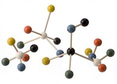 Molecule design set made of carved beech and maple wood