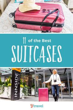 Looking for a new suitcase? Here is a short list of 11 best suitcases for travel. On the list are hard and soft shell suitcase brands spinners two and four wheels luggage sets and more. Big Suitcases, Travel Luggage, Luggage Sets, Packing Tips For Travel, Cheap Travel, Travel Style, Travel Fashion, Business Travel, Travel With Kids