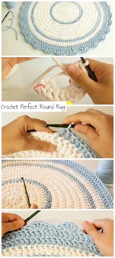 Crochet Perfect Round Rug - Crochetopedia Easy Step by step tutorial for beginne. Crochet Perfect Round Rug – Crochetopedia Easy Step by step tutorial for beginners Crochet Round, Love Crochet, Learn To Crochet, Diy Crochet, Crochet Rug Patterns, Knitting Patterns, Crochet Doily Rug, Crochet Carpet, Crochet Kitchen