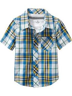 Plaid Poplin Short-Sleeve Shirts for Baby, Luke