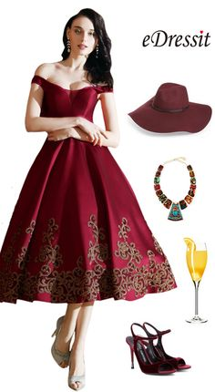 eDressit Designer Burgundy Off Shoulder Short Prom Dress