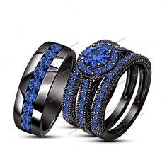 3.20 Carat Round Sapphire Bride & Groom Trio Ring Set in 14K Black Gold Finish #Unbranded #WeddingEngagementAnniversaryBrithdayPartyGift