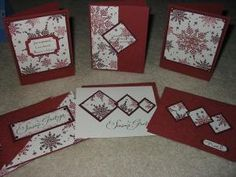 One sheet wonder cards made with Snowflake set from Stampin up by lorie