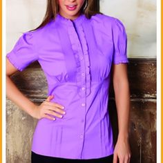Short sleeve shirt, bolero neck 100% cotton. Colors: turquoise, white, lilac, red and sand. Sizes:  8-16 Tops Button Down Shirts