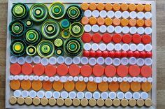 cheri kopp- american flag with colored plastic lids