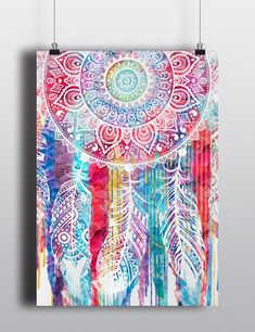 Watercolor Dreamcatcher Print Poster