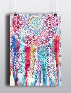 Watercolor Dreamcatcher Print Poster
