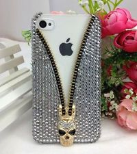 3D Bling handmade white skull Diamond crystal Case cover for iPhone6 c03