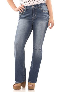 5c70bd8b28 Plus Size Legendary Bootcut Jeans feature five pocket styling; single  button closure and embroidered back
