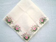 Vintage Pink Rose Floral Handkerchief by jclairep on Etsy, $5.00
