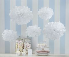 These white tissue paper pom poms create a simple yet dramatic party decoration. The pack contains 3 large and 2 small white tissue paper pom poms. The Pom Poms measure cm and cm in diameter when opened and fluffed out. Paper Wedding Decorations, Tissue Paper Decorations, Wedding Paper, Hanging Decorations, Craft Decorations, Snowflake Decorations, Craft Wedding, Outdoor Decorations, Craft Ideas