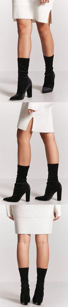 Velvet Sock Boots // 34.90 USD // Forever 21