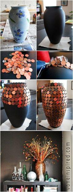 Renove um vaso com pouco centavos