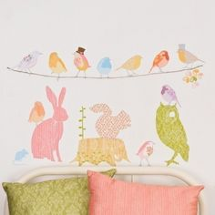 Wall Decals Woodland Reusable and removable fabric by lovemaestore, $75.00