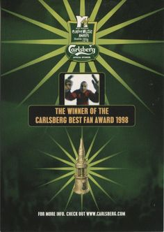 Chili Card Advertising Postcard, MTV Music Awards Best Fan (Carlsberg Beer)