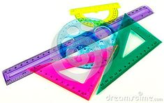 Photo about A closeup of bright plastic geometry tools. Image of accurate, colourful, graphic - 43089881