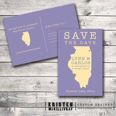 Illinois Save the Date Postcard www.kristenmcgillivray.etsy.com