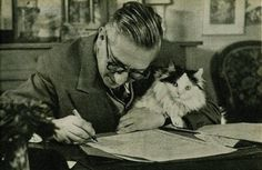 Although Sartre's relationship with cats isn't well-documented, he is seen above holding a very handsome feline while at work. Sartre was also one of the obvious inspirations for Henri, the existential cat, and it is thought possible that all cats are, by nature, existentialists.