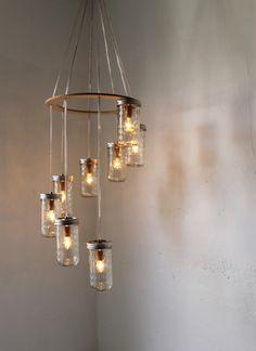 Mason Jar Chandelier, Spiral Waterfall Mason Jar Lighting Fixture With 8 Quilted Pint Jars, BootsNGus Rustic Modern Home Lighting