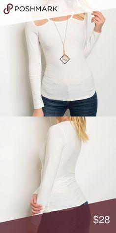Ivory Cut Out Top **PREORDER ITEM -- SHIPS 3/20/17**Round Neck Long Sleeve Fitted Cutout Top 🌸 Available in small, medium, large 🌸 96% Polyester 4% Spandex 🌸 Model is wearing the exact product in size small 🌸 Also available in black Tops Blouses