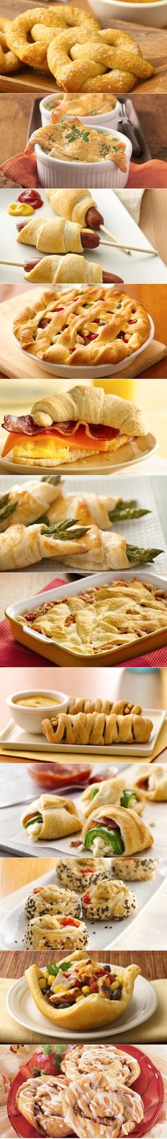 a list of yummy Crescent Roll Recipes. I love crescent rolls! Think Food, I Love Food, Food For Thought, Good Food, Yummy Food, Tasty, Crescent Roll Recipes, Crescent Rolls, Crescent Dough