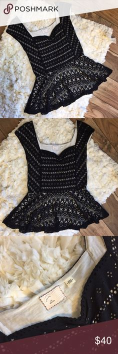 Postmark Anthropologie Black Lace Top Excellent condition with no flaws Anthropologie Tops Blouses