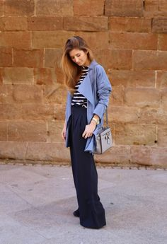 Casual Look. Look Marinero. A trendy life. #casual #stripes #palazzopants #blue #navylook #navy #trucco #michaelkors #sarenza #outfit #fashionblogger #atrendylife www.atrendylifestyle.com
