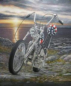 Harley Davidson Chopper EASY RIDER Captain America Bike MOTORCYCLE ART Print #35