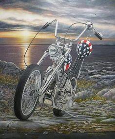 Harley Davidson Chopper EASY RIDER Captain America Bike MOTORCYCLE ART Print #35
