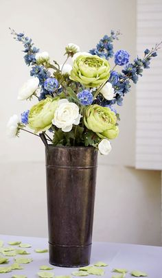 Tall Blue and Green Centerpiece in French Metal Bucket...in a tin bucket??