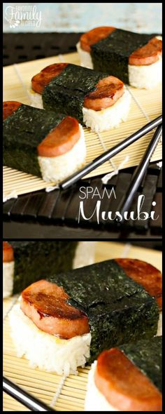 You don't need to fly to Hawaii to try this tasty authentic Hawaiian Spam Musubi. With this easy recipe you can make it yourself at home! via Favorite Family Recipes Hawaiian Appetizers, Hawaiian Dishes, Hawaiian Bbq, Hawaiian Recipes, Hawaii Food Recipes, Luau Food, Island Food, Tasty Dishes, Food And Drink