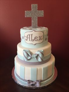 Christening Cake Cross Cakes, Christening, Desserts, Ideas, Food, Tailgate Desserts, Deserts, Meals, Dessert