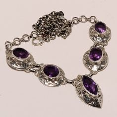 925 SOLID SERLING FINE SILVER FACETED AMETHYST NECKLACE 18 INCHES, 31 GRAMS #NECKLACE