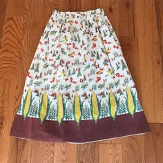 Vintage-Corn-on-the-Cob-Scarecow-Pumpkins-Border-Cotton-Novelty-Print-Skirt-S-M