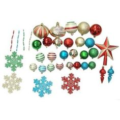 Martha Stewart Living, Christmas Collectibles Set of Red, Green, Blue, and White Ornaments with Tree Topper (100-Set), TSS-21169D at The Home Depot - Mobile