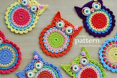 This is a PDF PATTERN for Crochet Owl Coasters/Appliques. The cute colorful ornaments that you can create with this pattern will be about 4 ¼ inches Crochet Owl Applique, Crochet Owls, Crochet Motif, Easy Crochet, Knit Crochet, Crochet Patterns, Ravelry Crochet, Crochet Food, Irish Crochet