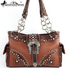 $39.99Amazon.com: Montana West Cow Girl Buckle Rhinestone Handbag in Brown Western Shoulder Purse: Clothing