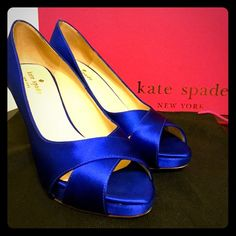 """Kate Spade Billie Cobalt Satin Heels THE perfect bridal shoe! Beautiful cobalt blue satin peep-toe heels in size 6. Features a 3"""" heel & 0.5"""" platform. They're not only lovely, they're comfortable too, which is ideal when you'll be standing on your feet for hours! In excellent, pre-owned condition. Some scuffs to satin covering heels, but very inconspicuous & could be easily cleaned. Comes in original box with dust bag! kate spade Shoes Heels"""