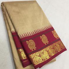 Buy online Pastel Handloom Kanjeevaram Pure Silk Saree With Red Contrast Border Mysore Silk Saree, Pure Silk Sarees, Wedding Silk Saree, Bridal Sarees, 1 Gram Gold Jewellery, Mulberry Silk, Occasion Wear, Indian Ethnic, Silk Fabric
