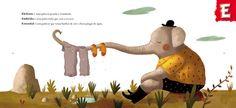 Illustrations by Sebastião Peixoto, in Dicionário das Palavras Sonhadoras (António Mota), Asa, Portugal. Children's Picture Books, Book Illustration, Children's Books, Portuguese, Illustrators, Portugal, Dinosaur Stuffed Animal, Places To Visit, Elephant