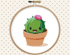 Kawaii cactus cross stitch pattern  cute cross stitch  funny