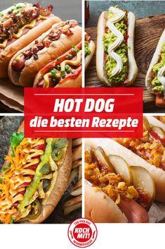 Wie wäre es mal wieder mit einem beliebtem Fast Food Klassiker, dem Hot Dog? Damit keine Langeweile aufkommt, haben wir die besten Rezepte für euch zusammengestellt. Egal ob klassisch, verrückt oder als Fish Dog, bei diesen Rezepten kommt jeder auf seinen Geschmack. Und mit selbstgemachten Brötchen schmecken die heißen Hunde sogar noch besser. Hot Dog Recipes, Healthy Recipes, Salad Recipes, Food Truck Menu, Gourmet Hot Dogs, Burger Co, Food Tech, Dog Snacks, Hot Dog Buns