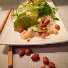 Mine matskriblerier: Glassnuddelsalat med squashpasta og reker