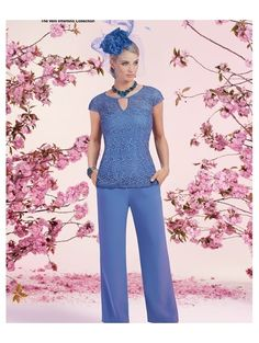 Chic Pant Suits Chiffon & Lace Neckline Full-length Mother Of The Bridal Dresses With Beadings Trouser Suits, Trousers, Occasion Wear, Lace Overlay, Bridal Dresses, Chiffon, Chic, Compton House, Ronald Joyce